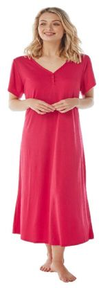 Ladies Long  Nightdress Short Sleeves Red Sizes 14 - 32